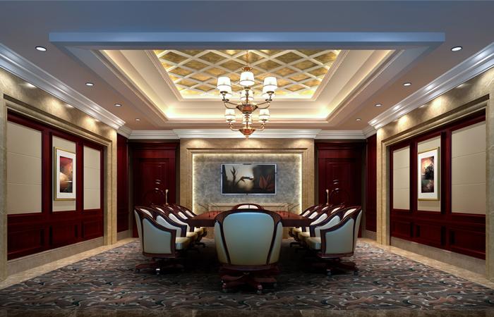 木饰面结合扪皮背景墙配以欧式新古典风格的家具尽显